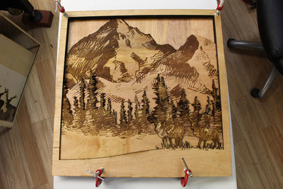 3D art created by laser cutting, engraving, and gluing multiple layers of plywood. Photo courtesy of AP Lazer.