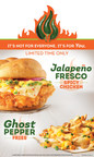 Wendy's Jalapeno Fresco Spicy Chicken Sandwich and Ghost Pepper Fries pack a spicy punch with 10 different sources of heat. The sandwich features Wendy's Spicy Chicken with its signature  blend of spice and 100 percent all-white meat chicken breast, topped with fresh, diced jalapenos - seeds and all - and specially made ghost pepper sauce, and capped with a bakery-style, freshly toasted red jalapeno bun. The Ghost Pepper Fries are smothered in cheese sauce and then topped with diced, fresh jalapenos, shredded cheddar cheese and a ghost pepper sauce.