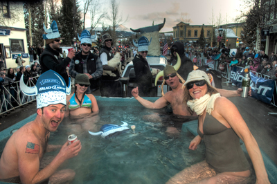 In Breckenridge, Colo., past Ullr Fest parade floats have included hot tubs, dogsled teams and ski jumps. This season, the Colorado festival celebrates its 50th anniversary Jan. 6-12, 2013. (Carl Scofield / GoBreck).