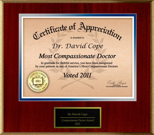 Dr. David Cope of Bountiful, UT is Honored as a Compassionate Doctor