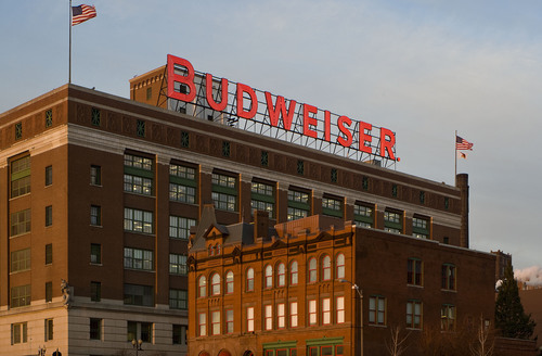 Image of the iconic Budweiser sign at Anheuser-Busch's St. Louis brewery. (PRNewsFoto/Anheuser-Busch) ...