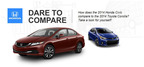 After being redesigned in 2013, the Honda Civic took over the compact car market by dethroning the Toyota Corolla.  (PRNewsFoto/Matt Castrucci Mazda)