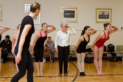 Pauline Clark, an 87-year-old from Clearwater, Fla., was recently granted her lifelong wish to dance with the Rockettes thanks to Wish of a Lifetime and Brookdale Senior Living. Clark is the eldest person to participate in the Rockettes Experience, a half-day workshop for aspiring dancers and Rockettes enthusiasts.  (PRNewsFoto/Brookdale Senior Living)