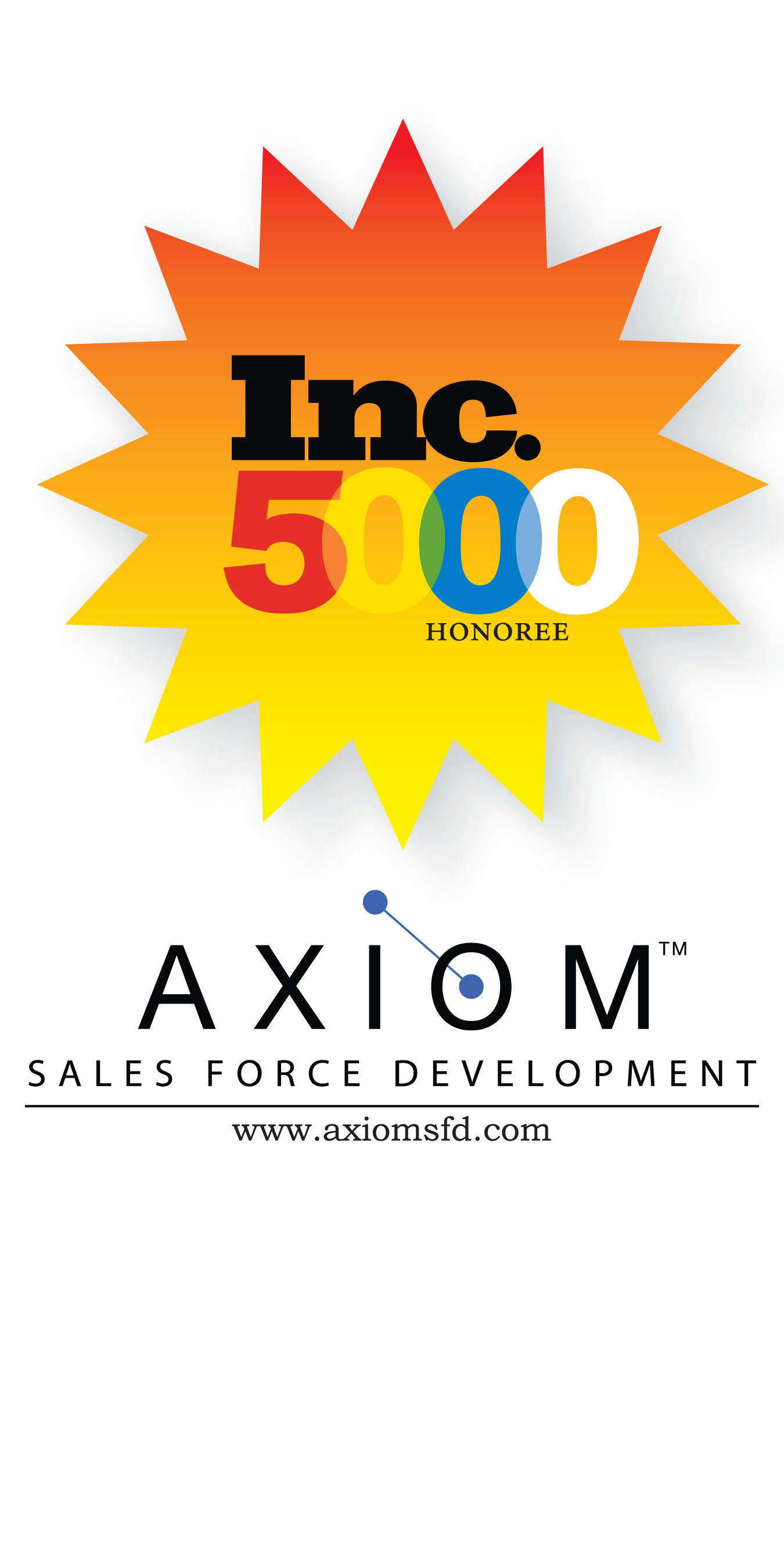 Inc. magazine ranks AXIOM Sales Force Development No. 33 Fastest Business Products & Services in the State of Texas. (PRNewsFoto/AXIOM Sales Force Development) (PRNewsFoto/AXIOM SALES FORCE DEVELOPMENT)