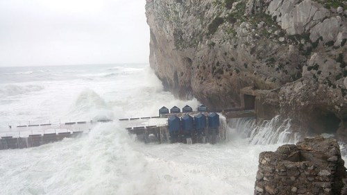 Eco Wave Power's Power Station in Gibraltar during a storm (PRNewsFoto/Eco Wave Power)