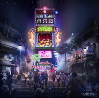 Zoom and Zip with SlotZilla, a first-of-its kind zipline attraction opening at Fremont Street Experience in 2013.  (PRNewsFoto/Fremont Street Experience)