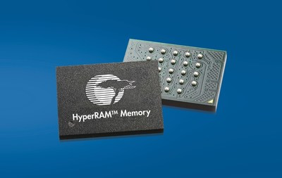 Pictured is a Cypress HyperRAM memory based on the low-pin-count HyperBus interface. The device serves as an expanded scratchpad memory for rendering of high-resolution graphics or calculations of data-intensive firmware algorithms in a wide array of automotive, industrial and consumer applications.