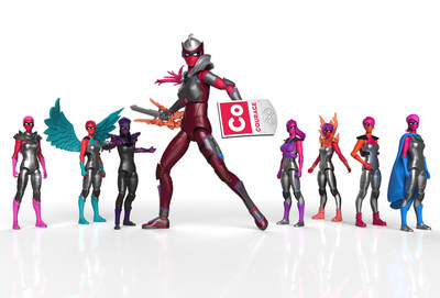 IAmElemental's Series 1/Courage female action figures, L-R: Bravery, Honesty, Fear, Courage Core Power, Enthusiasm, Energy, Industry and Persistence.  Individual figures, complete sets and additional products are available at select retailers and www.IAmElemental.com.