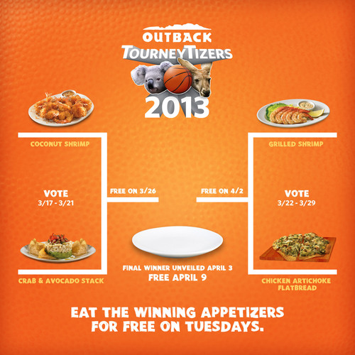 Outback Steakhouse joins the Madness this March with TourneyTizer Tuesdays. Score Free Appetizers on Tuesdays Throughout the Tournament.  (PRNewsFoto/Outback Steakhouse)