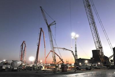 Approximately 7,000 cubic yards of concrete was placed at Plant Vogtle Unit 3.  (PRNewsFoto/Georgia Power)