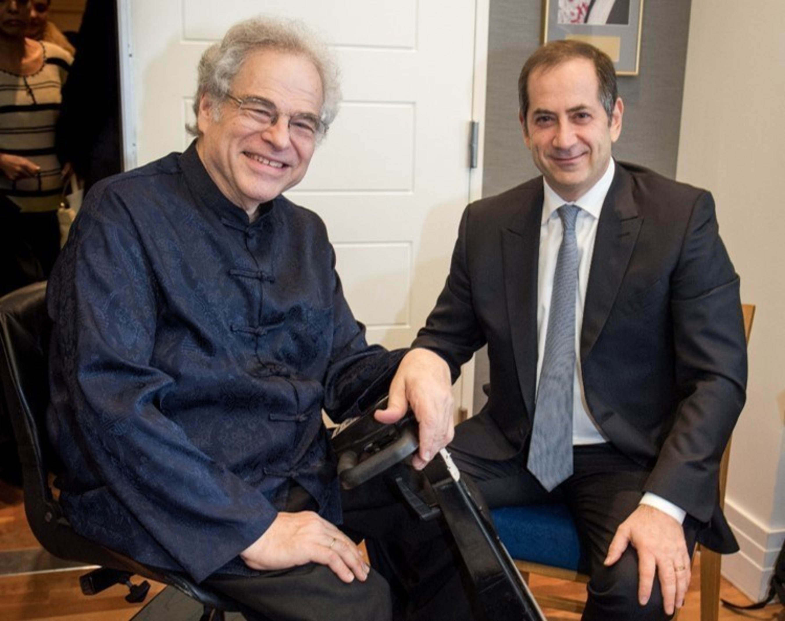 2016 Genesis Prize Laureate, Itzhak Perlman, meets Chairman and Co-Founder of the Genesis Prize Foundation, Stan Polovets