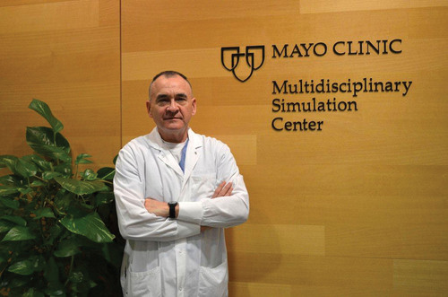 Dr. Walter Franz, a family physician with the Mayo Clinic, stands at the entrance to the Clinic's Multidisciplinary Simulation Center in Rochester, Minn. Dr. Franz, a colonel in the Army Reserve, joined the Army team in the early 1990's, and has served in Germany and Iraq on several deployments. He will deploy to Afghanistan in November.  (PRNewsFoto/U.S. Army Medical Recruiting Brigade, U.S. Army photo)