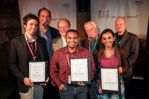 Jury and proud prize winners (from left to right): Christian Jost (2nd prize), Gerhard Niederfellner, Klaus Bosslet, Krishna Chaitanya (1st prize), Hans-Peter Altevogt, Vineeta Bhasker Tripathi (3rd prize), Winfried Welz.