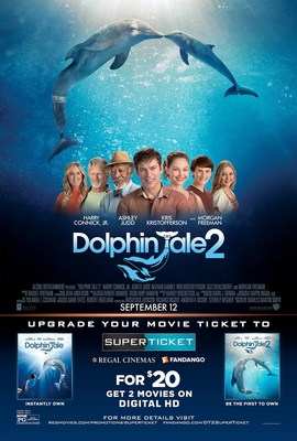 "Warner Bros. and Alcon Entertainment partner with Regal Cinemas and Fandango or ""Dolphin Tale 2"" Regal SuperTicket. Source: Warner Bros. and Alcon Entertainment"