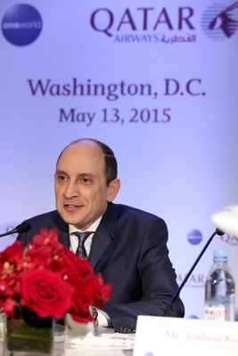 Qatar Airways Group Chief Executive His Excellency Mr Akbar Al Baker speaks about Open Skies and the airlines expansion plans in the United States during a press conference in Washington DC