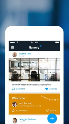 Employees can use the new mobile app for iOS to engage with their company's social news feed on Namely.