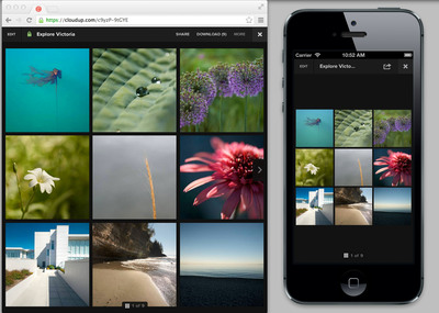 Cloudup, the free, easy-to-use, instantaneous and secure way to share videos, photos, music, links, files and documents, launched on Thursday, June 20, 2013. Cloudup is a mobile first service, which allows for the mobile user (right portion of the image) to have an optimized viewing experience for their particular device.  (PRNewsFoto/Cloudup)