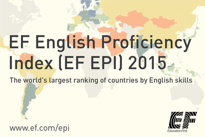 The EF EPI is the world's largest ranking of countries by English skills.  The fifth edition ranks 70 countries based on test data from 910,000 participants. Find out more on www.ef.com/epi (PRNewsFoto/EF Education First)