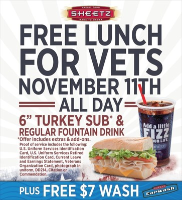 Sheetz free lunch for Vets!
