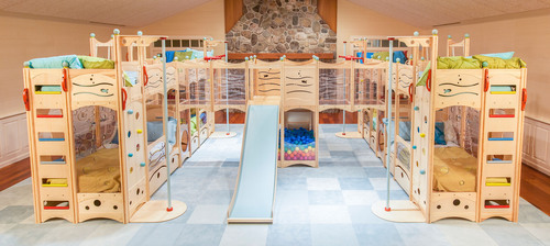 The Extreme Bunkroom design from CedarWorks of Rockport, Maine combines fun play features including climbing walls, ladders, fire poles, bridges, a slide, ramp, and a giant ball pit - along with beds for 8 children. The Extreme Bunkroom is based on the ...