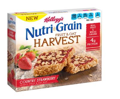 Kellogg's Nutri-Grain Fruit & Oat Harvest Country Strawberry cereal bar.  (PRNewsFoto/Kellogg Company)