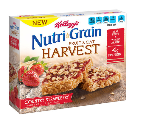 Kellogg's Nutri-Grain Fruit & Oat Harvest Country Strawberry cereal bar. (PRNewsFoto/Kellogg Company) (PRNewsFoto/KELLOGG COMPANY)