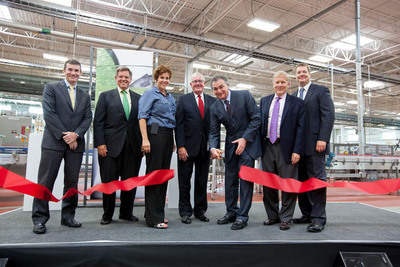 Diageo executives and local government officials celebrated the completion of more than $120M in upgrades at the company's Plainfield, IL bottling facility. From Left:  Paul Gallagher, Supply President, Diageo North America,  Rocky Wirtz, President, Wirtz Corporation,  Jennifer Bertino-Tarrant, State Senator, 49th District,  Michael P. Collins, Mayor of Plainfield, Larry Schwartz, President, Diageo North America,  Tom Cross, State Representative, 97th District, Erik Snyder, VP Operations.  (PRNewsFoto/Diageo)