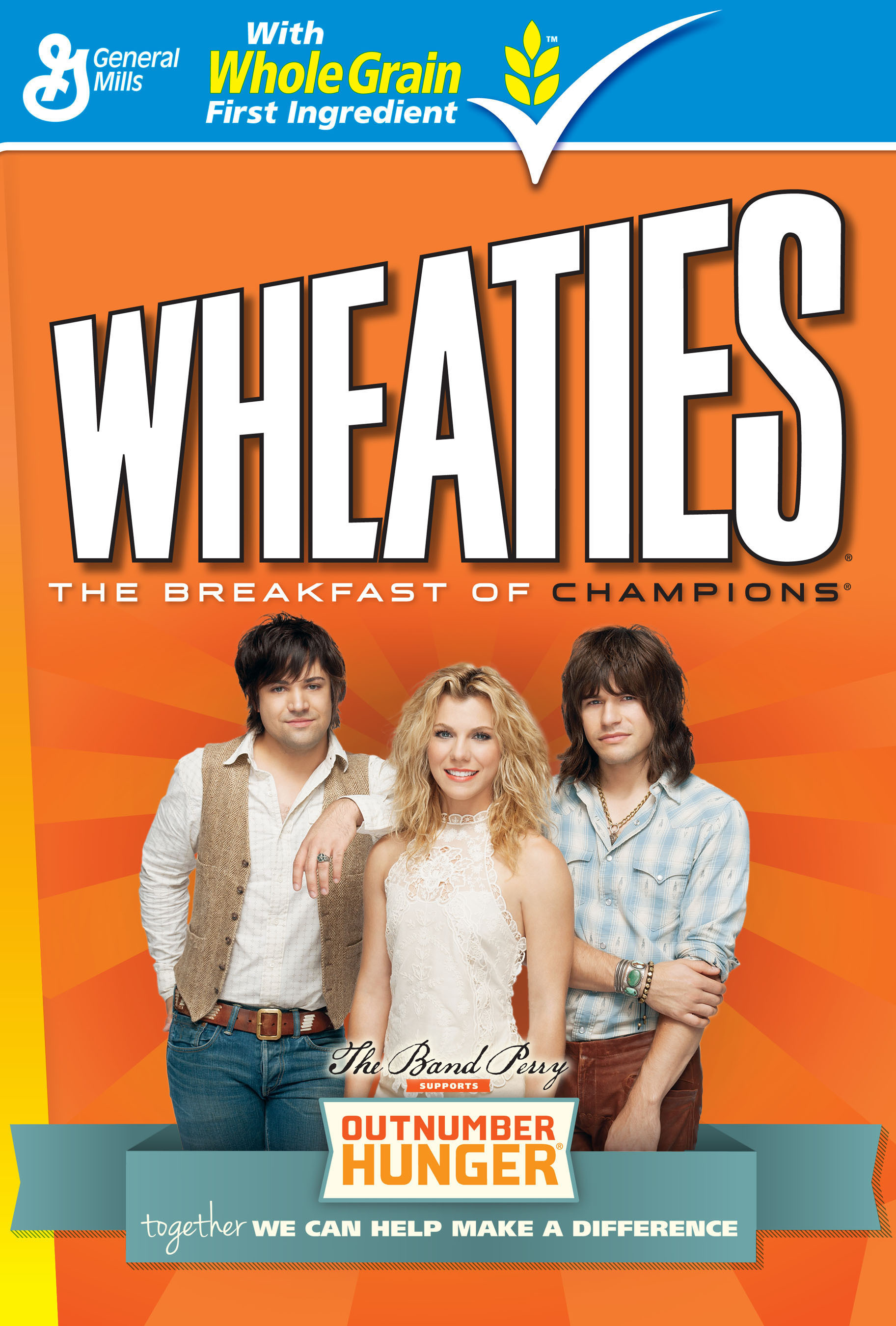 The Band Perry serves as the face of the Outnumber Hunger campaign and will appear on specially marked General Mills products, including Wheaties, Cheerios, Yoplait and Nature Valley.(PRNewsFoto/General Mills)