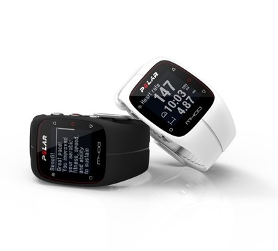 Polar M400 GPS running watch with built-in activity tracker available in black and white (PRNewsFoto/Polar)