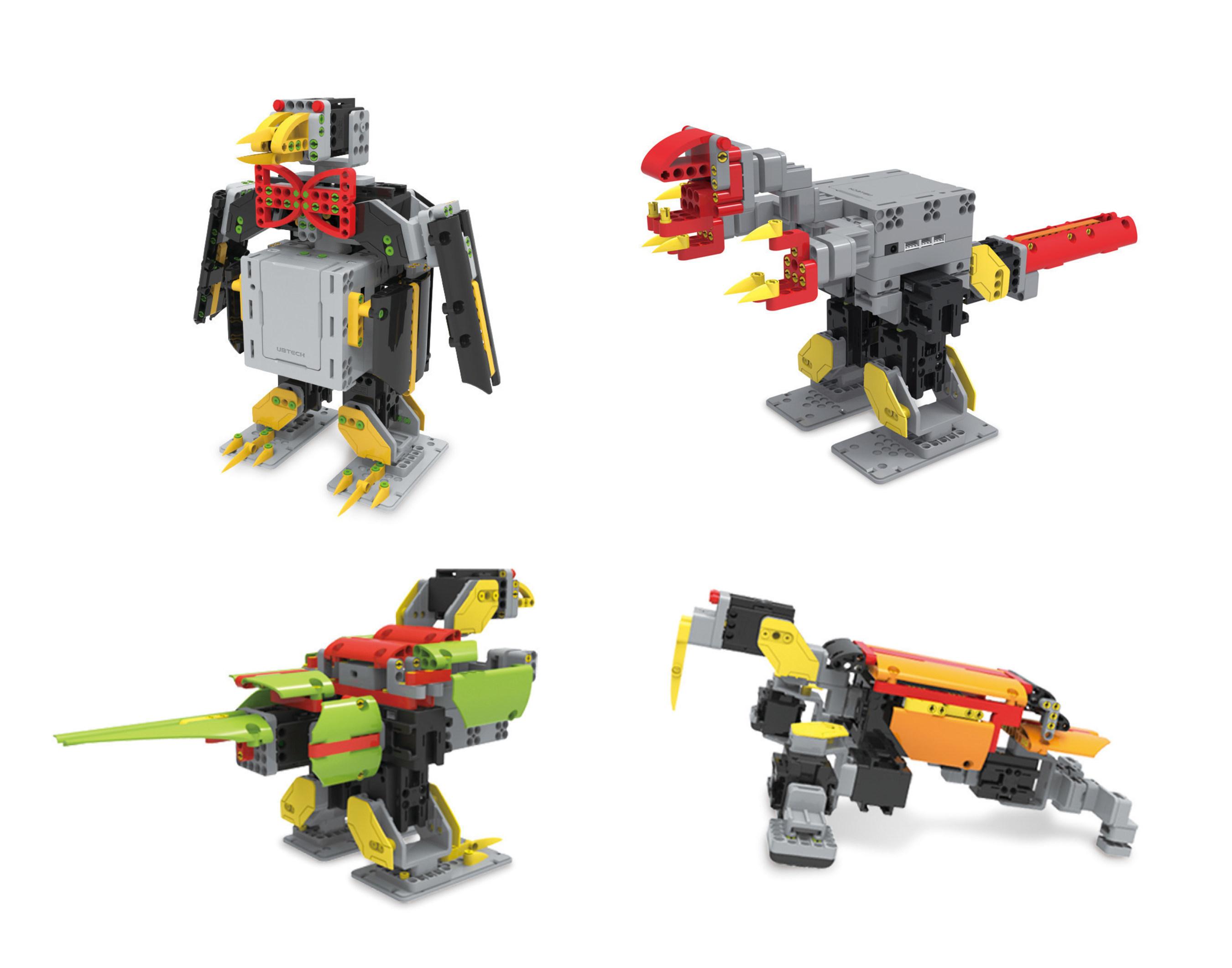 JIMU Robot Animal Add-on Kit: Penguin, Tyrannosaurus Rex, Parrot and Walrus.