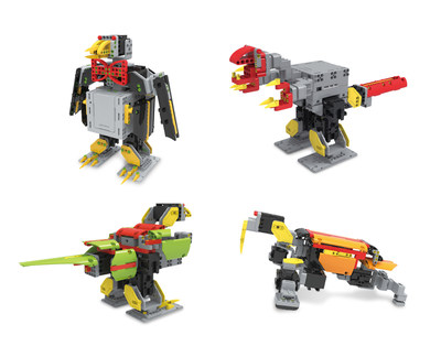 JIMU Robot Animal Add-on Kit: Penguin, Tyrannosaurus Rex, Parrot and Walrus.