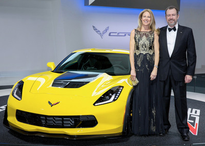 General Motors will auction the first retail production 2015 Z06 Corvette super car through the Barrett-Jackson auction house on April 12 with all proceeds benefitting the Barbara Ann Karmanos Cancer Institute in Detroit. The auction is part of the 32nd Annual Dinner on April 26 to raise money for the Institute. GM President Dan Ammann (R) and his wife, Pernilla, chief operating officer of Mother New York, are the chairs of the dinner, the fourth consecutive year that a GM senior leader has chaired the event.  (PRNewsFoto/General Motors)