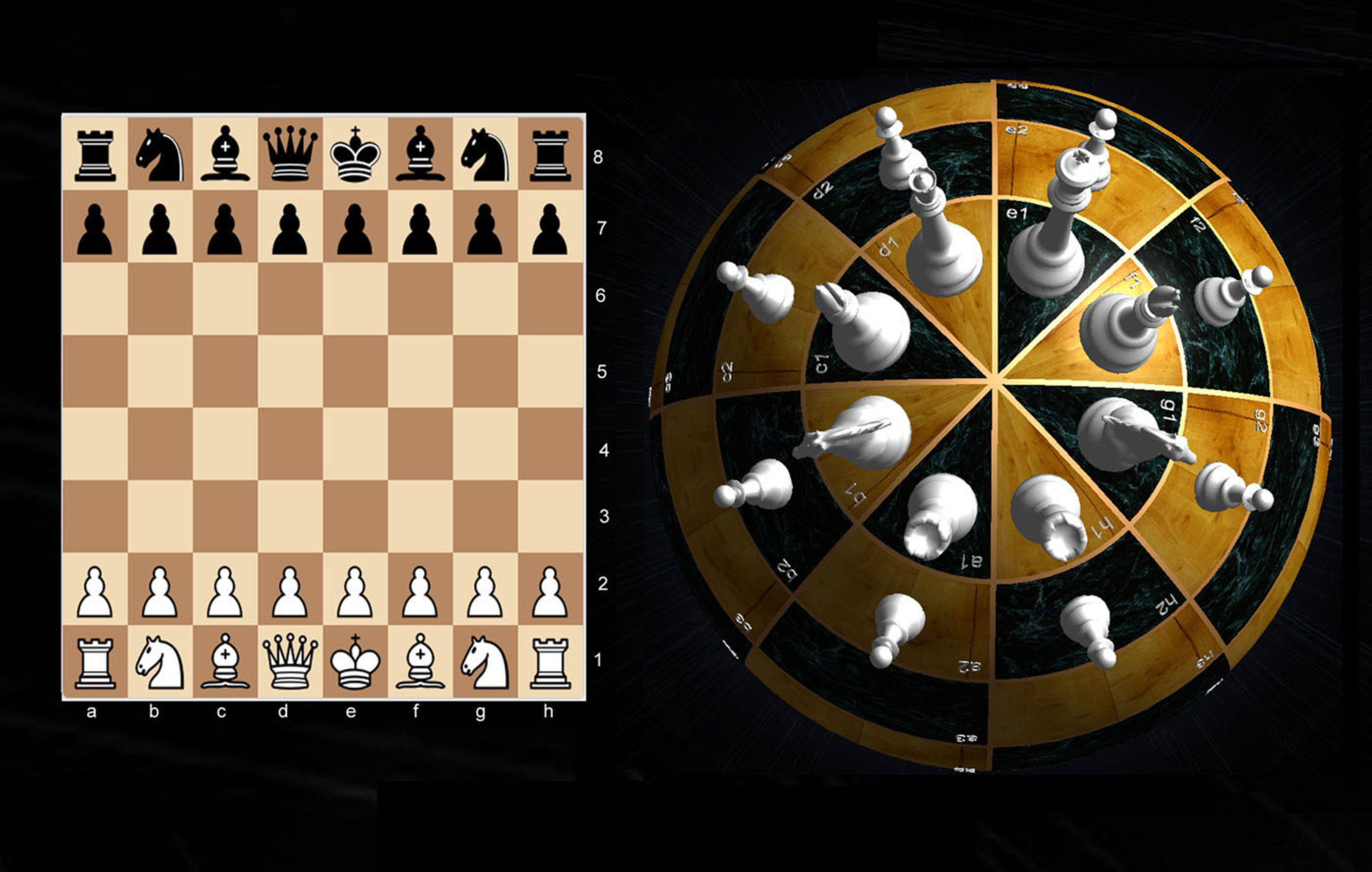 SphereChess has the same 64 squares and pieces set up like Chess, but SphereChess pieces and files A-H are arranged concentrically around opposing poles of a sphere.  (PRNewsFoto/SphereChess)