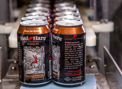 Red Hare craft beer packaged exclusively in cans made of Novelis' evercan aluminum sheet, which is made of ...