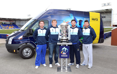 Rugby League World Cup players prepare to kick off the trophy's UK tour as Hertz is announced as the Official Transport Provider for the 2013 tournament. The partnership will see Hertz provide vehicles for players and officials throughout the competition, as well as the specially customised trophy vehicle which will allow the cup to tour the UK ahead of the games. Fans will also benefit from discounted Hertz rentals to celebrate the partnership.  Left to right: Richie Myler (England), Ben...