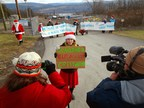 "Mama Elf, Stephanie Redmond, explains why Santa Claus, Mrs. Claus and the elves are blockading the gates of Crestwood Midstream. ""The North Pole is melting and we need to do something about climate instability."" Inexplicably, when computing the probability of a catastrophic occurrence in the salt caverns, Crestwood uses as their denominator, all types of gas storage facilities, not just salt caverns. Salt caverns make up a very small proportion of gas storage facilities, yet they account for all the catastrophic incidents. Loading the denominator with the types of facilities that are not dangerous makes the caverns appear deceptively safe."