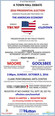 DEBATE: Clinton and Trump Economic Policy is front and center at Ohio debate sponsored by EF Hutton. Senior economic advisors will clash on October 2 at 2:00pm in Springfield, Ohio -- just a month before the election.