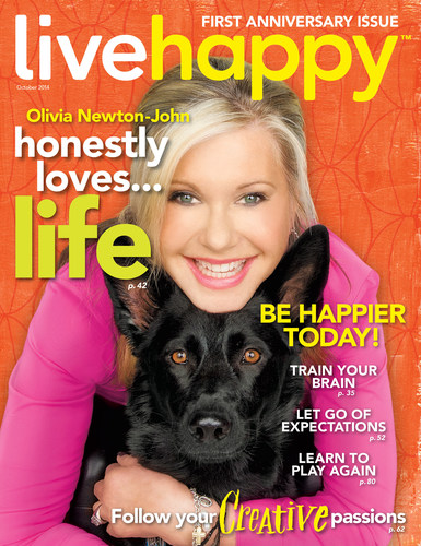 Olivia Newton-John Graces First Anniversary Cover of Live Happy September/October 2014 Issue (PRNewsFoto/Live Happy LLC)