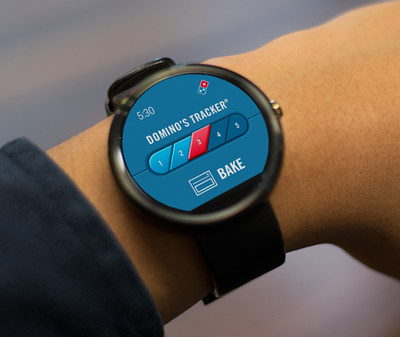 Domino's customers can now track and place their order on Android Wear (pictured) and Pebble smartwatches.