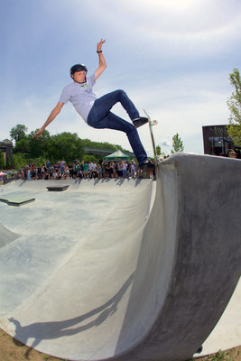 Tony Hawk joined the session at the A-Dog Skatepark in Burlington, Vermont on June 4. The project received a grant from the Tony Hawk Foundation in 2010. Photo: Jody Morris