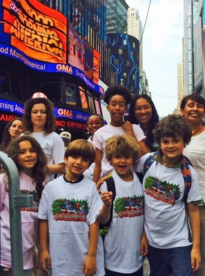 Camp Wonderopolis campers celebrate launch at Good Morning America. (PRNewsFoto/NCFL)