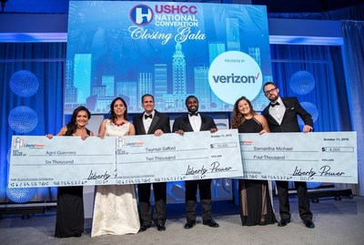 From Left: Nina Vaca, USHCC Foundation Chairman; Agni Guerrero, $6,000 scholarship recipient; Alberto Daire, co-founder and President of Liberty Power; Twymun K. Safford, $10,000 scholarship recipient; Samantha Michael, $4,000 scholarship recipient; and Tim LoCascio, Liberty Power's Director of Marketing and Bright Horizons Program Director