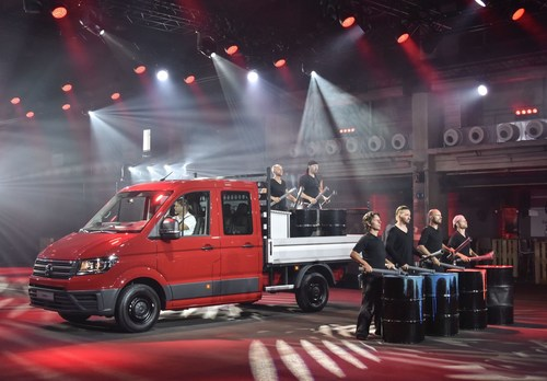 "Volkswagen Commercial Vehicles: Crafter World Premiere with ""Double Drums"". (PRNewsFoto/Volkswagen Commercial Vehicles)"
