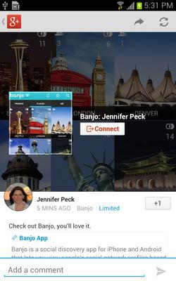 Google Chooses @Banjo app to unveil Google+ Integration.  (PRNewsFoto/Banjo)