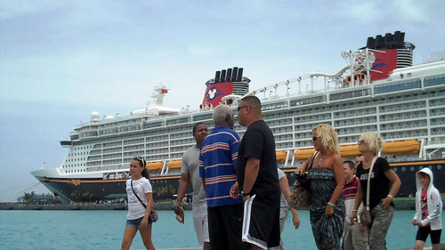 Taxi driver greets Disney cruise passengers arriving in Nassau, Bahamas on Friday, August 26.  ...