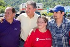 (from the left); Governor Earl Ray Tomblin (D-WV) Governor of WV; U.S. Senator Joe Manchin (D-WV), Tracie Hays - Save the Children Staffer, Country Music Superstar and one of West Virginia's own Brad Paisley during a visit to give aid to flood survivors in Clendenin, WV.