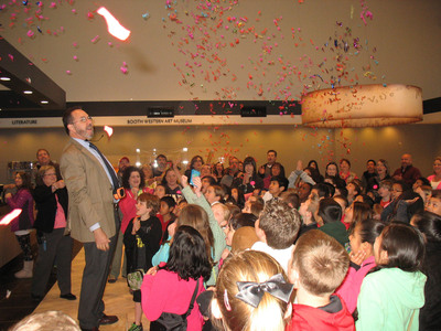 Tellus Staff greets students with confetti cannons.  (PRNewsFoto/Tellus Science Museum)