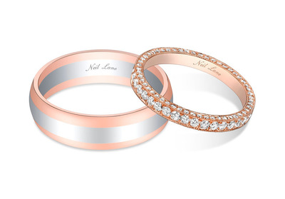 Bachelor couple Sean Lowe and Catherine Giudici selected Neil Lane wedding bands for their big day. Catherine's beautiful rose gold and diamond wedding band set was accented with round diamonds while Sean selected a stylish two-color gold wedding band. (PRNewsFoto/Warner Horizon) (PRNewsFoto/WARNER HORIZON)