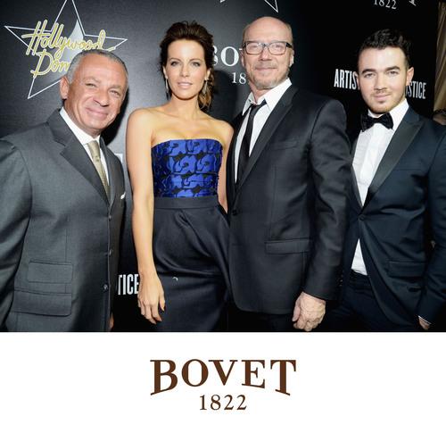 Pascal Raffy, Kate Beckinsale, Paul Haggis, and Kevin Jonas at Hollywood Domino.  (PRNewsFoto/BOVET 1822)