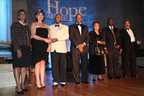 Ron Frieson, center, Chair of the American Kidney Fund Board of Trustees, and LaVarne A. Burton, left, with the kidney patients who were named Heroes of Hope. From far right, the Heroes of Hope are Donald Jackson; Ronnie Glasper; Beverly Schroeder; and the Rev. Oliver Johnson, accompanied by his kidney donor, Rosemary deButts.  (PRNewsFoto/American Kidney Fund)